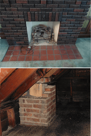 Disconnected Chimney in attic found by Keystone Home Inspection