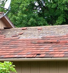 Missing roof tiles causing leaks in bedroom found by Keystone Home Inspection